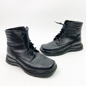 BLONDO Black Leather Combat Boots Ankle